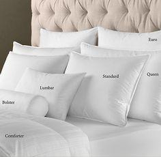 "RESTORATION HARDWARE Feather Bed Pillow Inserts SIZES: Bolster: 6"" x 16"" Boudoir: 12"" x 18"" Lumbar: 14"" x 22"" Large Bolster: 14"" x 30"" Euro: 26"" x 26"" King Euro: 26"" x 34"""