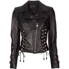 VERSACE lace-up biker jacket (6.635 BRL) ❤ liked on Polyvore featuring outerwear, jackets, tops, coats, leather jackets, moto zip jacket, versace, lace up jacket, versace jacket and rider jacket