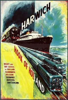 Harwich England 1955 Hook Of Holland http://stores.ebay.com/Vintage-Poster-Prints-and-more