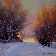 "Daily Paintworks - ""Crest of the Road"" - Original Fine Art for Sale - © Marc Hanson Painting Snow, Winter Painting, Winter Art, Oil Painting Abstract, Abstract Landscape, Landscape Paintings, Landscapes, American Impressionism, Pastel Art"