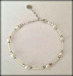 New Genuine White Pearl Freshwater Pearls Heart Charm Ankle Bracelet Anklet  #Beaded