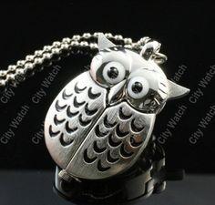 1 Pcs Sharp Bright Hot Sale,Necklace Cute Lovely Owl Style New Silver Vintage Woman Lady Quartz Pocket Watch(WA325)