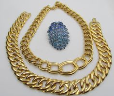 LOT Three:  All  Signed Napier 2 Necklaces & Rhinestone Brooch #Napier