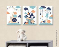 Lot de 3 illustrations pour chambre d'enfant garçon, décoration chambre bébé, réf.13 bleu orange : Décoration pour enfants par cashemir