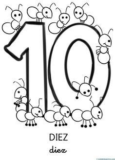 Números para colorear Shapes Worksheet Kindergarten, Worksheets For Kids, Kindergarten Math, Preschool Spanish, First Day School, Numbers Preschool, Preschool Learning Activities, Montessori Education, First Grade Math