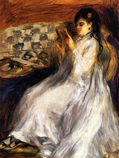 Young Woman in White Reading, 1873 by Pierre-Auguste Renoir, Association with Impressionists. Impressionism. genre painting. Private Collection