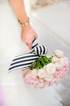 Pink Bouquet Wrapped in Black-and-White-Striped Ribbon