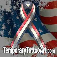 USA Ribbon Flag Fake TemporaryTattoo
