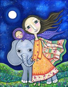 """Girls room elephant art print folk art painting Whimsical cute mother and baby wall decor nursery room art  - """"Time Travellers"""""""