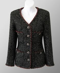 CHANEL 2011 Métiers D'Art Black Metallic 4-Pocket Boucle Jacket