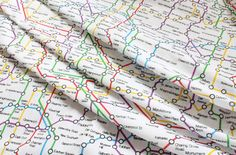 London Unground Map, Tube Stop Printed Polycotton Fabric. Price per M!