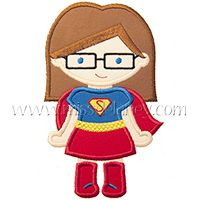 Super Girl (Bob with Glasses) Applique Design