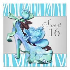 Silver Teal Blue Zebra Sweet 16 Birthday Party Personalized Invites