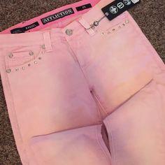 Pink studded jeans Pink Affliction Jeans Skinny