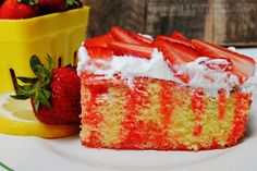 Strawberry Lemonade Jell-o Poke Cake: the perfect summer dessert. Uses an easy box mix as the base...with lots of yummy flavors incorporated.