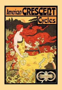American Crescent Cycles 12x18 Giclee on canvas http://aurora-vintage-gifts.com/products/american-crescent-cycles-12x18-giclee-on-canvas