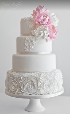 Ruffle wedding cake by Sugar Ruffles with peony sugar flowers and tiny pearl blossoms. Amazing Wedding Cakes, White Wedding Cakes, Elegant Wedding Cakes, Elegant Cakes, Wedding Cake Designs, Wedding Cupcakes, Wedding Cake Toppers, Ruffle Cake, Cream Wedding
