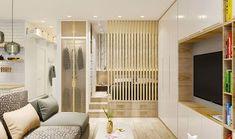 Apartment Design Compact Ideas For 2020 Condo Interior Design, Studio Apartment Design, Small Apartment Interior, Condo Design, Studio Apartment Decorating, Home Room Design, House Design, Modern Small Apartment Design, Door Design