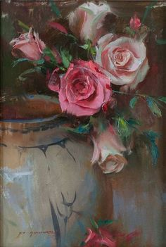 Kai Fine Art is an art website, shows painting and illustration works all over the world. Art Floral, Still Life Flowers, Still Life Art, Rose Art, Beautiful Paintings, Painting Inspiration, Painting & Drawing, Watercolor Painting, Flower Art