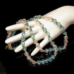 Fabulous #Monet Aqua and Clear #GlassBeadsNecklace from #MyClassicJewelry on…