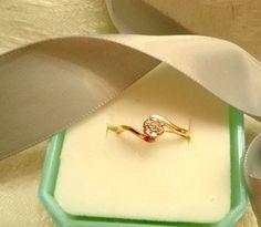 SALE Vintage Diamond 10K Plumb Gold Engagment Flower by Zeppola