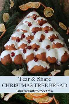 Tear & Share Christmas Tree Bread is easy to make, easy to decorate - perfect for Christmas entertaining & practically foolproof. #ChristmasBaking #PullApartBread #HolidayBaking