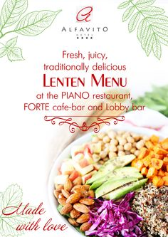 Lenten started this week. It is a time of spiritual preparation for the feast of the Passover. In 2016 Lenten will last from 14 March till 30 April. That is why we have thoroughly prepared for this event and have created for you a special lenten menu!  You can see the lenten menu on our website - http://www.alfavito.com.ua/en/restorany-i-bary/restoran-piano.htm