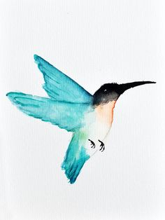 Flying Hummingbird Watercolor Print