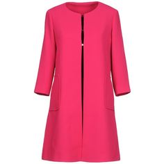 Annie P. Overcoat (19.295 RUB) ❤ liked on Polyvore featuring outerwear, coats, fuchsia, over coat, pink coats, pink overcoat, long sleeve coat and single-breasted trench coats