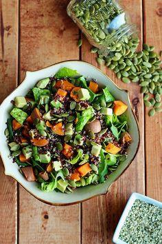 Warm Sweet Potato & Quinoa Salad with Spicy Peanut Sauce - ilovevegan.com #vegan #glutenfree