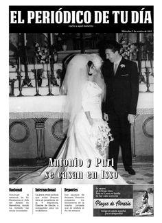 Antonio y Puri se casan en Isso. Los protagonistas se emocionaron al recibir El Periódico de Tu Día en su aniversario. Un regalo original que emocionó a todos en la ceremonia. Recuerda que para sorprender a tus seres queridos podéis buscar regalos de cumpleaños, regalos de aniversarios, regalos de bodas, regalos de bodas de oro, regalos de bodas de plata, regalos de bautizos, regalos de comuniones y mucho más en El Periódico de Tu Día. Entra y descúbrelo. ;)