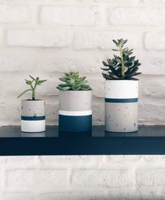 Concrete Planters, Diy Planters, House Plants Decor, Plant Decor, Painted Plant Pots, Slow Design, Beton Diy, Concrete Crafts, Succulents In Containers