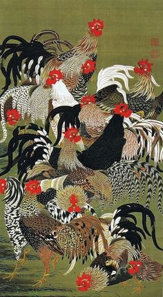 ito jakuchu: arte, cor e vida na era edo Art And Illustration, Botanical Illustration, Art Chinois, Art Asiatique, Chicken Art, Chicken Quilt, Art Japonais, Chickens And Roosters, Japanese Painting
