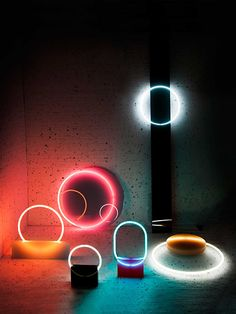 Two neon and resin lamp series DAWN and VOIE by Sabine Marcelis