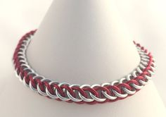 Red and Silver Anodised Aluminium Half Persian Chainmaille Bracelet