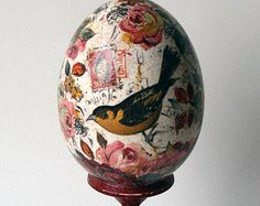 Popular items for decoupage easter egg on Etsy