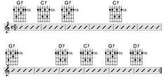 A standard 3 chord blues progression, reharmonized to form a jazz version. In depth theory and videos Jazz Guitar Chords, Jazz Guitar Lessons, Music Lessons, Jazz Chord Progressions, G Major, Transcription, Sheet Music, Blues, Theory