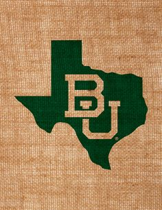 Baylor University burlap wall art interlocking BU in state of Texas picture item is officially licensed by BU via Etsy Burlap Wall, Burlap Fabric, Christmas Gifts For Boyfriend, Boyfriend Gifts, Baylor University, Hubby Love, Printing On Burlap, Office Gifts, Wall Prints