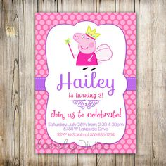 Peppa Pig Birthday Invitations Lovely Peppa Pig Invitation Peppa Invite Peppa Pig by Peppa Pig Birthday Invitations, My Little Pony Invitations, Paw Patrol Birthday Invitations, Princess Invitations, Peppa Pig Balloons, Bubble Guppies Birthday, Oh My Fiesta, Pig Party, Pigs