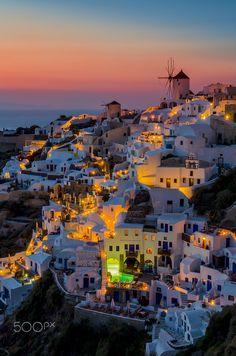 Twilight in Oia, Santorini, Greece