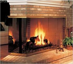 Multisided Glass Door comes in a variety of finishes and handle styles. Fireplace Glass Doors, Fireplace Inserts, Gutter Colors, Fireplace Stores, Chimney Cap, Double Sided Fireplace, Doors Online, Fireplace Accessories, Kitchen Accessories