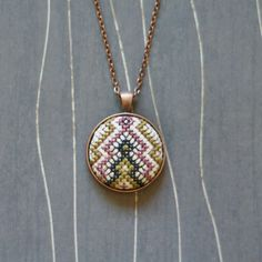 Friendship Cross stitch pendant necklace by TheWerkShoppe on Etsy, $34.00