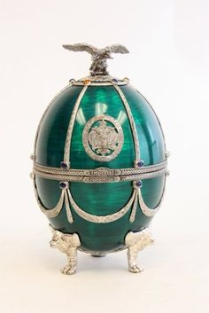 Faberge sterling silver & enamel footed egg