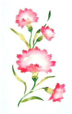 Items similar to Carnations, new towel painted with vintage stencil on Etsy Get A Tattoo, Tattoo Art, Gamma Phi Beta, Pink Carnations, Sorority, Watercolor Art, Stencils, Diy Ideas, Tattoos