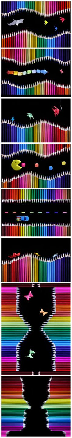 Photographs of Colored Pencils and Origami by Victoria Ivanova