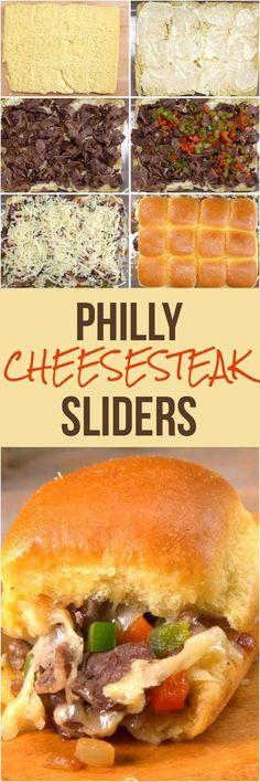 This Philly Cheesesteak Sliders Recipe is a Winner Philly cheesesteak sliders stuffed with steak, cheese, and onions & peppers are a slam dunk game time appetizer. We'll show you an easy way to make 12 at once! Philly Cheesesteak Sliders Recipe, Philly Steak Sandwich, Steak Sandwich Recipes, Beef Recipes, Cooking Recipes, Recipes With Steak, Easy Food Recipes, Sausage Recipes, My Burger
