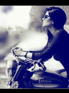 Royal enfield world Girl Riding Motorcycle, Biker Girl, Bike Photography, Fashion Photography Poses, Stylish Girls Photos, Stylish Girl Pic, Harley Davidson, Girl Photo Poses, Girl Poses
