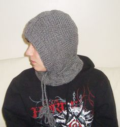 Hooded Cowl Knit Hood Pixie Hat Slouch Cable Scarf Cowl Neckwarmer Unisex Teen Grey Gray Warm Christmas Gift for Men, Women by earflaphats on Etsy