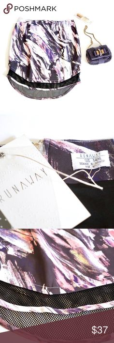 Runaway Abstract Mesh Skirt Australian brand Runaway skirt. New with tags. Size XL 14. So fun and in style watercolor paint print in purple and black hues. Mesh bottom trim. New with tags. A few very minor snags show in the last photo from storage. Still new and doesn't show! I believe I got this at revolve. Carven Skirts