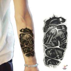 Temporary tattoos 3D black mechanical arm fake transfer tattoo stickers hot sexy
